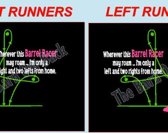 Barrel Racing Diagram T Shirt - Left or Right Runners
