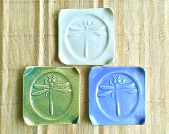 """Dragonfly square plate, Good-luck Japanese pottery,  Maui made, Incense burner saucer, spoon, teabag ring rest, green, White, Blue, 3"""" x 3"""""""