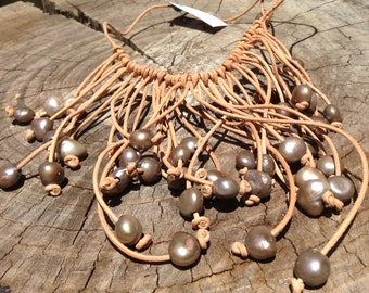 Tan Leather Choker with Pearls
