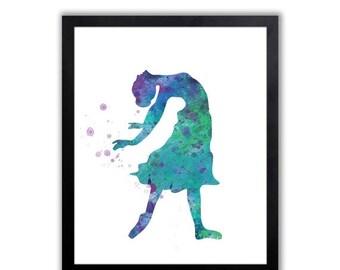 Modern Watercolor Art Print For A Girl, Dancing Art Print - FIG008
