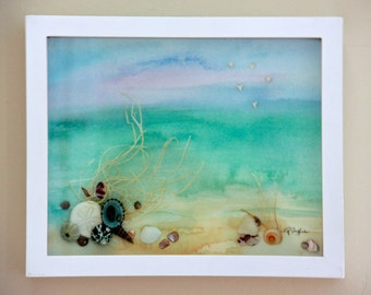 Beach Shadow Box with Seascape Watercolor, Beach Watercolor in a Shadow Box Art for Beach Decor, Seashell Shadow Box for Coastal Home Decor