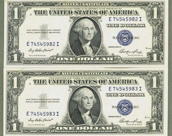 1935 E 1 dollar bill consective notes Old Currency Silver Certificate USA Blue Seal Bills Crisp XF