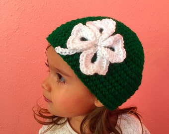 St Patricks day hat, Green beanie, Green hat, Clover leaf hat, St Patricks day beanie, Green clover, Crochet hat, Baby beanie, Gift