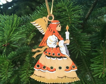 SALE !! Christmas Wooden Toy- Fairy - Painted painter decorator by hand
