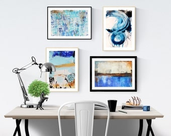 Art Print  blue abstract art print  with blue and white jolina anthony