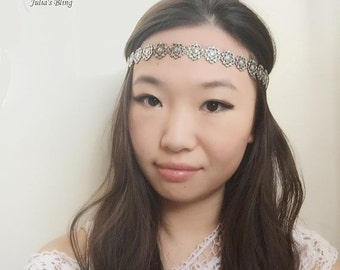 On Sale NEW womans fashion trendy black base silver flower snow flag thin skinny stretch boho headband