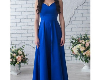 Cobalt Blue Bridesmaid Dress Long Bridesmaid Dress V-Neck Party Dress,Cobalt Blue Long Prom Dress Mother Of The Bride