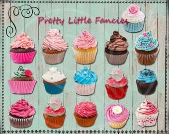 16 Digital Cupcakes Clipart Scrapbook Element Digital Clip Art Cupcake Clip Art