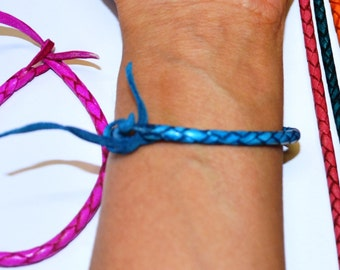 Coloured braided leather friendship bracelet - Fuschia, Turquoise, orange, brown, black, etc...