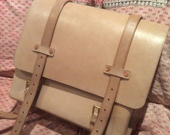 Leather Satchel with one extra pocket