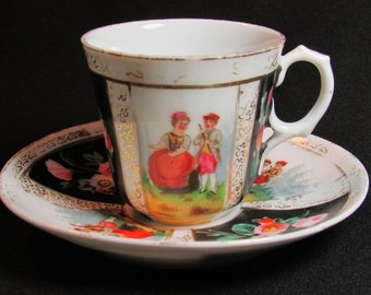 1770s Boch Brothers Luxemburg Septfontaines Demitasse Saucer Courting