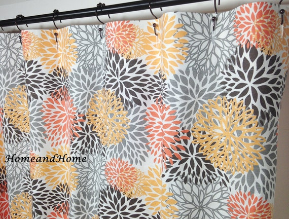 Curtains Ideas gray and orange shower curtain : Fabric Shower Curtain Blooms Chili Pepper orange, grey, charcoal Extra ...