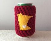 University of Minnesota Football   Minneapolis, Minnesota Crochet Beer Cozy, Coffee Cup Cozy, Coffee Sleeve by Maroozi