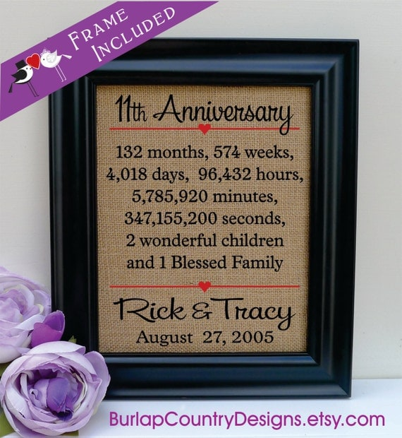 Framed 11th anniversary gift 11th anniversary gift 11th for 11th wedding anniversary gift