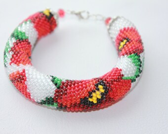 Red Poppy Bead Crochet Bracelet, Flower Bracelet Red Flower Bracelet Gift for her Made with Love Beaded Jewelry Summer jewelry poppy jewelry