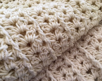 Crochet Shell Lapghan Throw Afghan Aran/Cream or White Made to Order