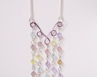 Swarovski Crystal Necklace; Pastel Rain Crystal Necklace, Swarovski Necklace, Wire Crystal Pendant, Wire Crystal Necklace