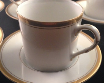 Vintage Fitz and Floyd China White Cup and Saucer with Gold Band