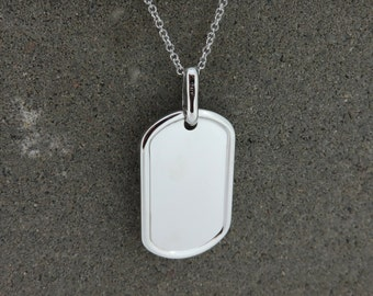 Personalised Silver Dog Tag Necklace - Free Engraving