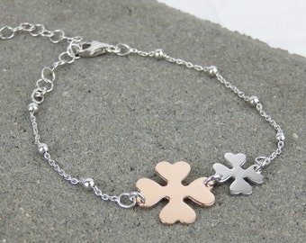 Personalised Silver & Rose Gold Lucky Double Four Leaf Clover Bracelet - Free Engraving