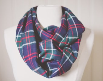 Plaid Infinity Scarf | Plaid | Double Wrap | Handmade | Green | Emerald | Blue | Navy | White | Red | Circle Scarf