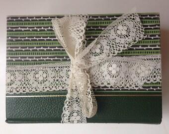 Green Antique Book Bundle, Vintage Book Stack, Shabby Vintage Books, Book Decor Centerpiece, Wedding Table, Decorative Books