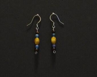 Blue and Brown Beaded Dangle Earrings