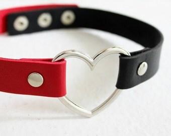 Harley quinn leather heart choker, heart collar