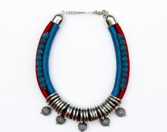Statement rope necklace/bohemian/bib necklace/handmade jewelry/rope jewelry/lava rock beads/blue/red/color block/for her