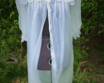 Vintage white robe with lace collar