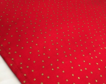 Holiday Table Runner- Red with Gold Stars Christmas Table Runner