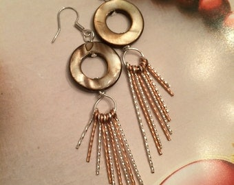 SALE-Seashell beads earrings delicately hand twisted with silver and copper wire