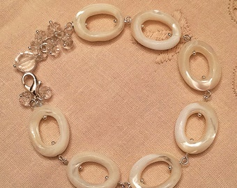 Natural giant clam shell beads bracelet handmade with crystal beads and sterling silver chain.