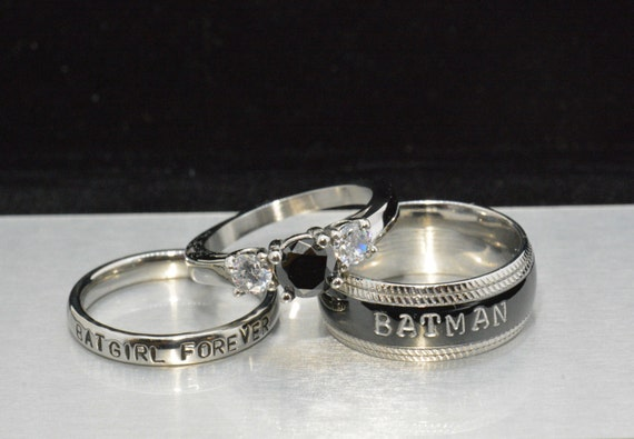 batman and batgirl forever rings black by