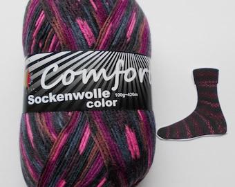 sock yarn 100g (6,-Euro/100g), purple patterned, 4ply (1115.05)
