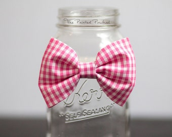 Bold Pink Gingham Patterned Bow, Bow Tie, Pocket Square