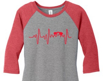 Wrestling Mom T-shirt Heart Monitor