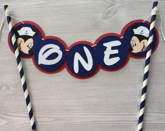 Nautical Mickey Cake Topper Mickey Mouse Cake Decor Mickey Mouse Party Decor Baby's First Birthday Cake Topper