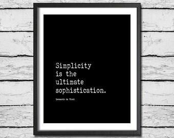 Da Vinci Inspirational Art 'Simplicity Is The Ultimate Sophistication' Digital Download Motivational Print Letterpress Print Wall Art Decor