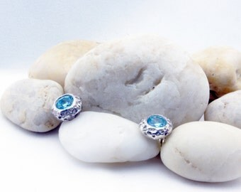 Aquamarine CZ Studs, Nautical Coral Earrings, Crystal Earrings in Fine Silver