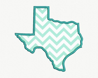State of Texas Applique Machine Embroidery Design - 5 Sizes
