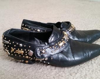Black Studded Vintage 80's Booties