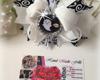 Halloween Ghost  white Stacked Boutique Bow