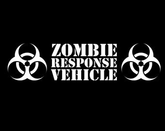 Zombie Response Vehicle, Zombie Outbreak, Vinyl Decal, Zombie Decals, Car Decal