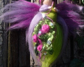 Fairy Fiorana with cornucopia, fairies, elves, Waldorf, wool
