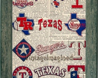 Texas Rangers Logo history dictionary art print on upcycled vintage dictionary page 8x10,Texas Rangers art. Texas Rangers logo, Texas decor