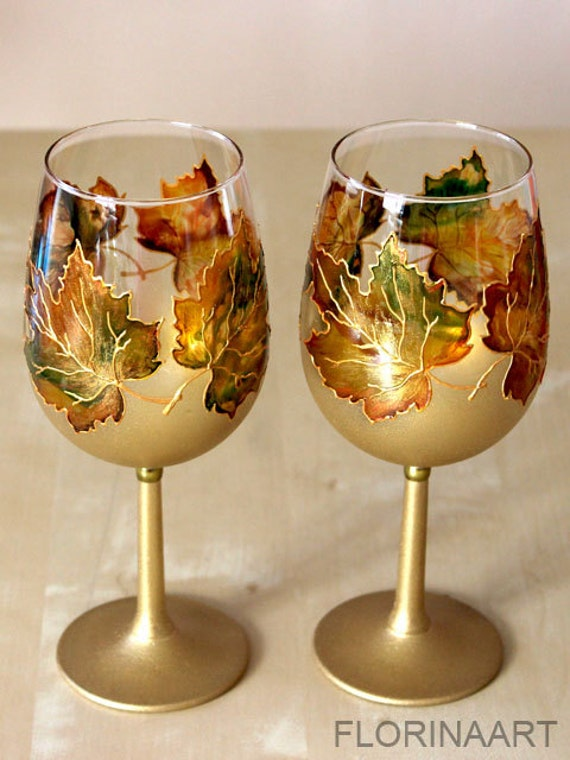Wine glasses retirement gift wedding glasses hand painted for Hand painted glassware