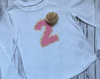 Custom Number Shirt // Shabby Chic Shirt // Birthday Shirt // Birthday Bodysuit // Baby Girl Birthday Shirt // Baby Girl Birthday T-shirt