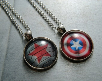 Captain America or Winter Soldier Necklace -- Steve Rogers -- Bucky Barnes -- Fandom Fashion -- Handmade Jewelry -- The Avengers - Civil War