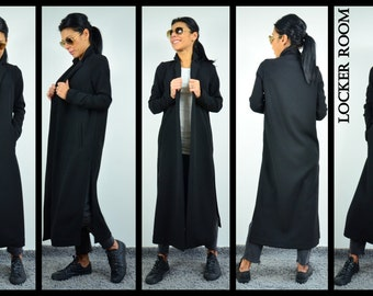 Maxi Trench Coat, Extravagant jacket, Extravagant Coat, Asymmetric Coat, Loose Trench coat, Casual Trench, Maxi Black Coat,Maxi Open Overall